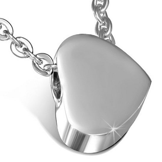 Stainless Steel Silver-Tone Love Heart Womens Girls Pendant Necklace with Chain