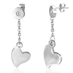Stainless Steel Silver-Tone Love Heart White CZ Dangle Drop Womens Earrings