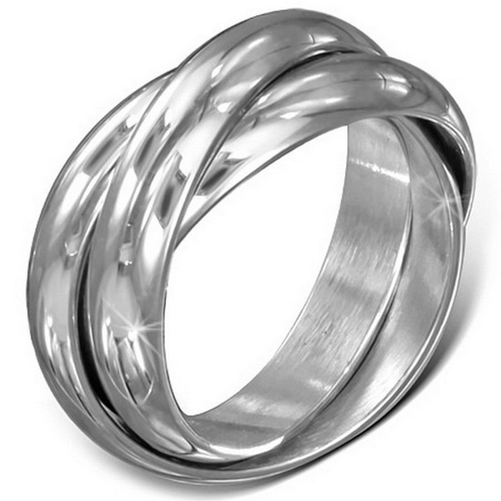 Stainless Steel Three Silver-Tone Interlocking Polished Ring Band Set, 5 mm Wide - Size 9