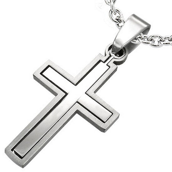Stainless Steel Silver-Tone Religious Latin Cross Pendant Necklace