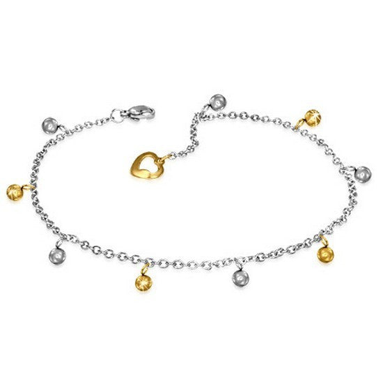 Stainless Steel Two-Tone Adjustable Anklet Bracelet