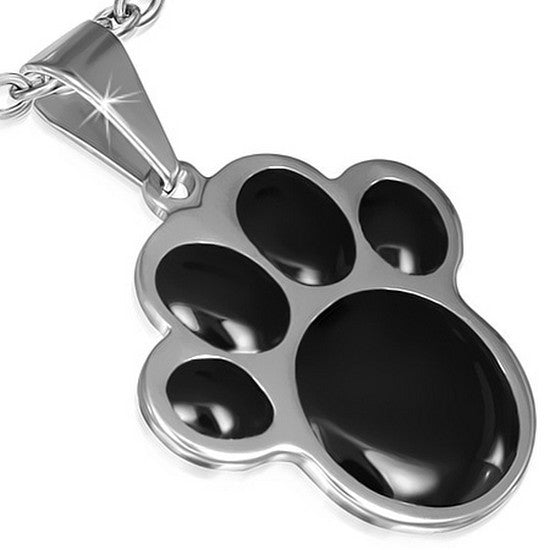Stainless Steel Silver-Tone Black Paw Print Dog Puppy Pendant Necklace