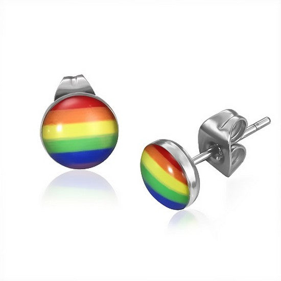 Stainless Steel Silver-Tone Rainbow Stud Earrings