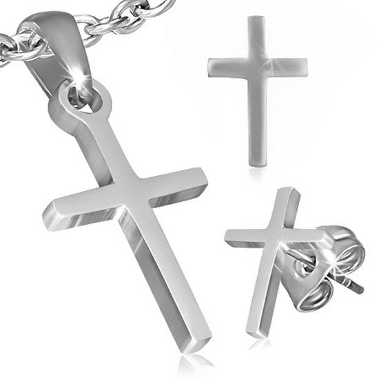 Stainless Steel Silver-Tone Latin Cross Necklace Pendant Stud Earrings Set