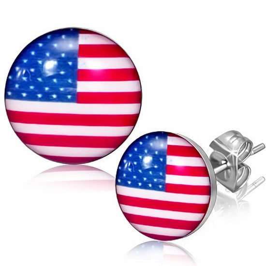 Stainless Steel Silver-Tone USA American Flag Patriotic Stud Earrings