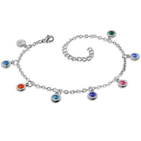Stainless Steel Silver-Tone Multicolor CZ Round Charms Womens Adjustable Anklet Bracelet