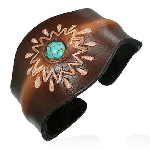 Brown Tan Leather Blue Turquoise-Tone Engraved Cuff Bangle Womens Adjustable Bracelet