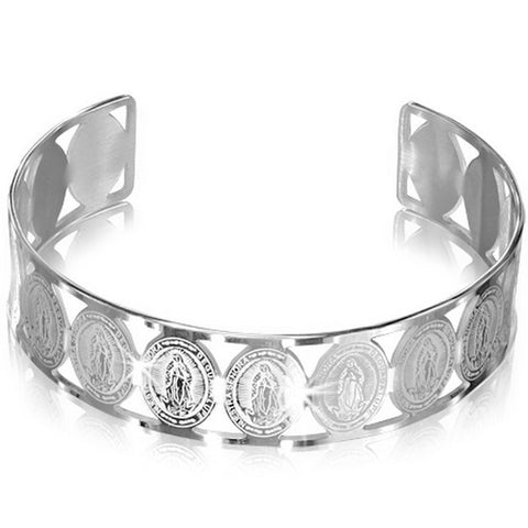 Stainless Steel Silver-Tone Virgin Mary Religious Christian Open End Cuff Bangle