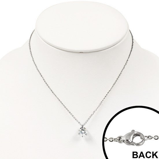 Classic Cubic Zirconia Solitaire Necklace Pendant Stainless Steel