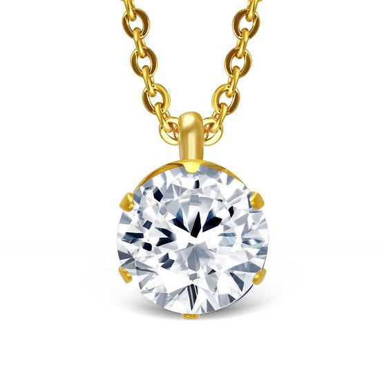 Stainless Steel Yellow Gold-Tone Solitaire Prong-Set White CZ Pendant Necklace