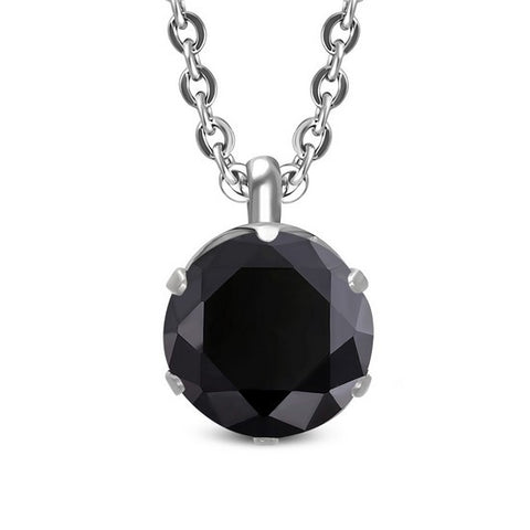 Stainless Steel Silver-Tone Womens Solitaire Prong-Set Black CZ Pendant Necklace