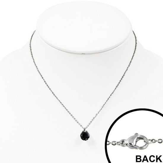 Black Gem Prong Necklace