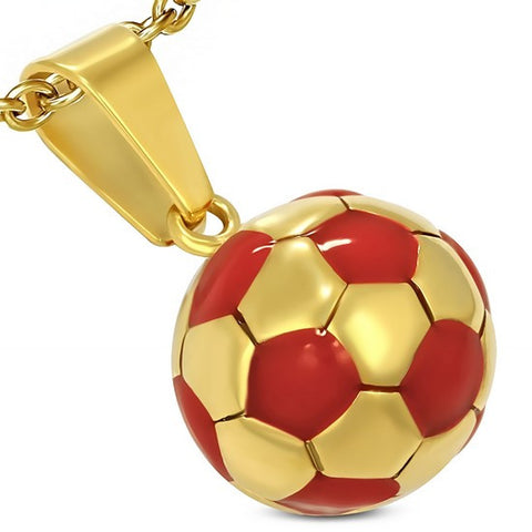Stainless Steel Yellow Gold-Tone Red Soccer Ball Football Charm Pendant Necklace with Chain