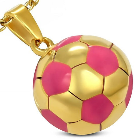 Stainless Steel Yellow Gold-Tone Pink Soccer Ball Football Charm Pendant Necklace with Chain