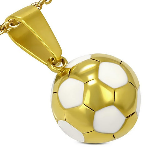 Stainless Steel Yellow Gold-Tone White Soccer Ball Football Charm Pendant Necklace with Chain