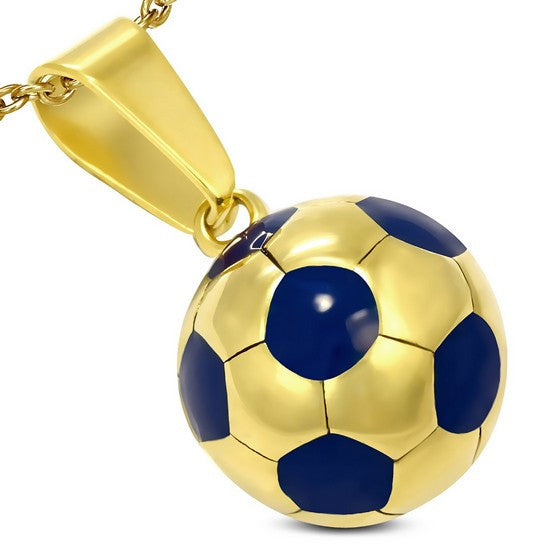 Stainless Steel Yellow Gold-Tone Blue Soccer Ball Football Charm Pendant Necklace with Chain