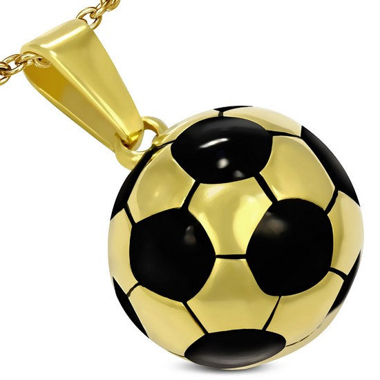 Stainless Steel Yellow Gold-Tone Black Soccer Ball Football Charm Pendant Necklace with Chain