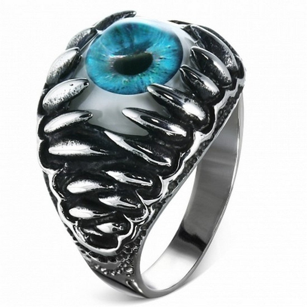 Stainless Steel Silver-Tone Blue Evil Eye Jaw Ring Band - Size 13