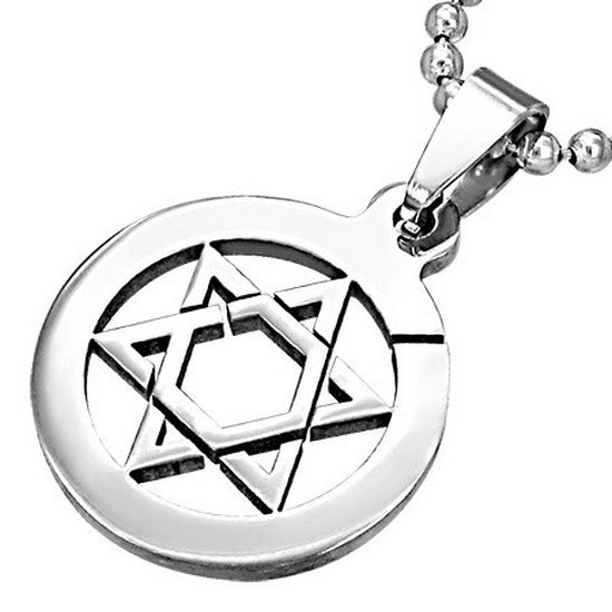 Stainless Steel Silver-Tone Jewish Star of David Charm Pendant Necklace with Chain