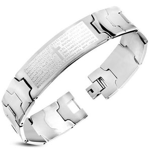 Stainless Steel Silver-Tone Mens Latin Cross Padre Nuestro Prayer Spanish Link Chain Bracelet