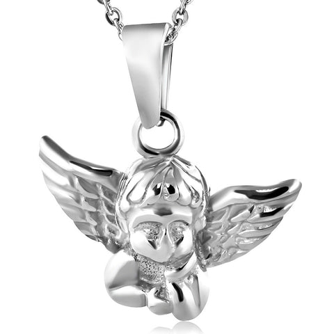 Stainless Steel Silver-Tone Angel Pendant Necklace
