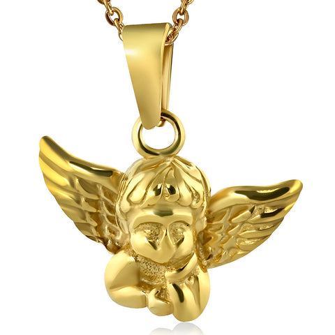 Stainless Steel Yellow Gold-Tone Angel Pendant Necklace