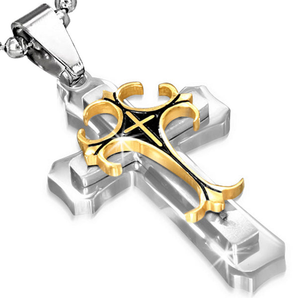 Mens Two Tone Stainless Steel Cross Pendant Necklace
