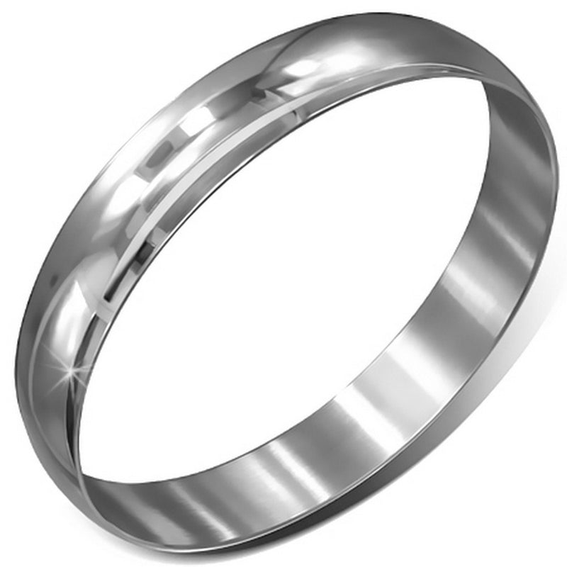 Stainless Steel Silver-Tone Classic Round Bangle Bracelet