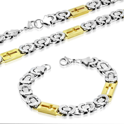 Stainless Steel Two-Tone Greek Key Cross Religious Necklace Bracelet Mens Jewelry Set