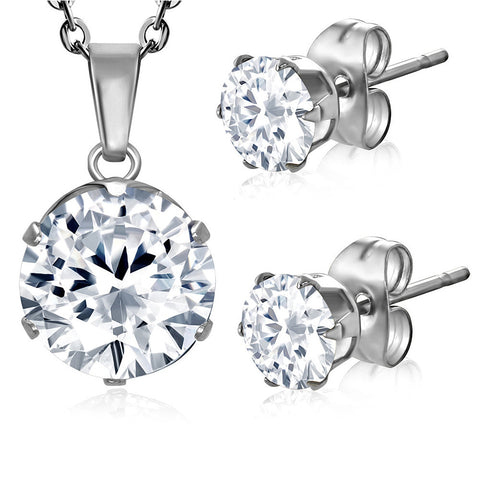 Stainless Steel Silver-Tone Solitaire White CZ Pendant Necklace Stud Earrings Set