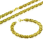 Stainless Steel Yellow Gold-Tone Necklace Bracelet Mens Jewelry Set