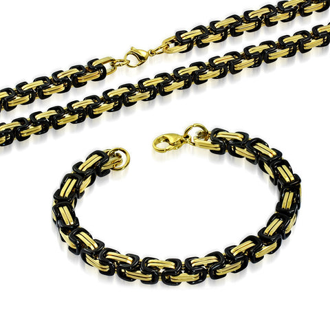 Stainless Steel Black Yellow Gold-Tone Necklace Bracelet Mens Jewelry Set