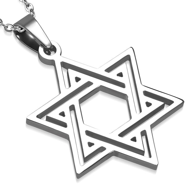 Stainless Steel Silver-Tone Classic Jewish Star of David Pendant Necklace, 21.5""