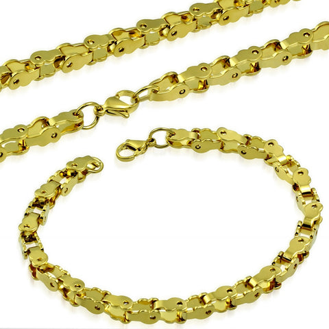 Stainless Steel Yellow Gold-Tone Necklace Bracelet Mens Jewelry Set, 21.5""