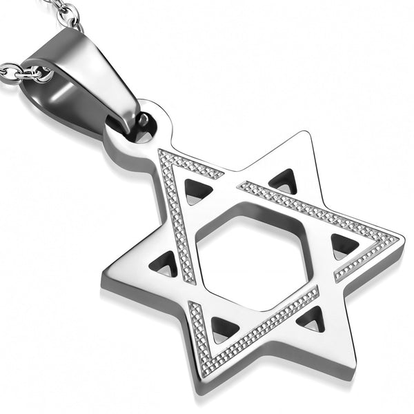 Stainless Steel Silver-Tone Classic Jewish Star of David Pendant Necklace, 19.5""