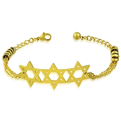 Stainless Steel Yellow Gold-Tone Triple Jewish Star of David Chain Bracelet, 9""