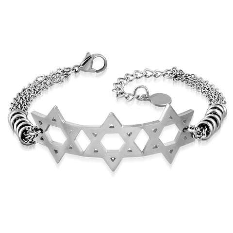 Stainless Steel Silver-Tone Triple Jewish Star of David Chain Bracelet, 9""