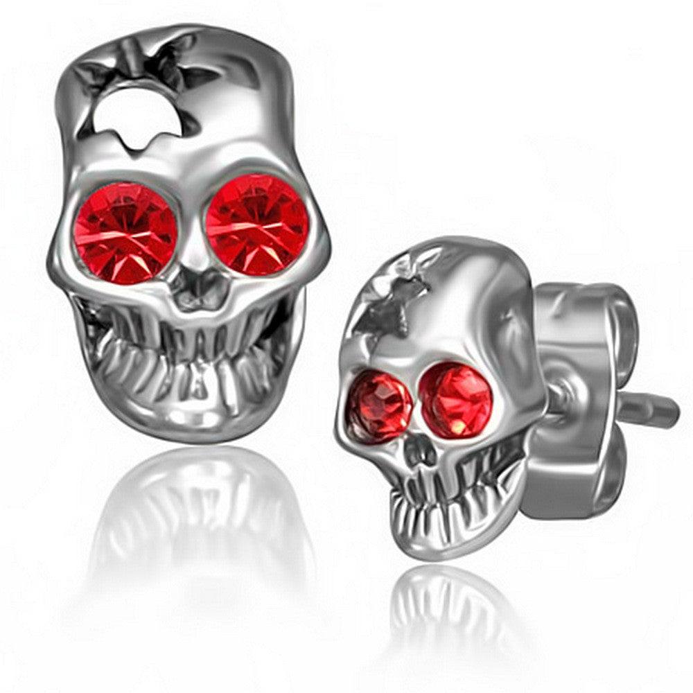 0c9f3f368 Stainless Steel Silver-Tone Red CZ Small Skull Stud Earrings