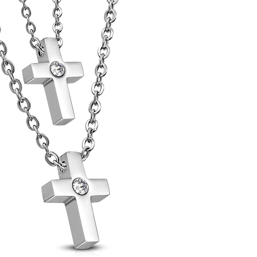 Stainless Steel Silver-Tone Clear CZ Double Chain Religious Cross Pendant Necklace