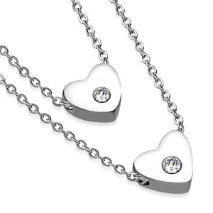 Stainless Steel Silver-Tone Clear CZ Double Chain Love Heart Pendant Necklace