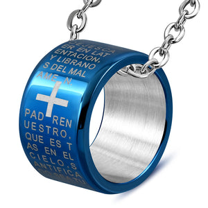 Stainless Steel Silver-Tone Blue Padre Nuestro Prayer Spanish Ring Pendant Necklace