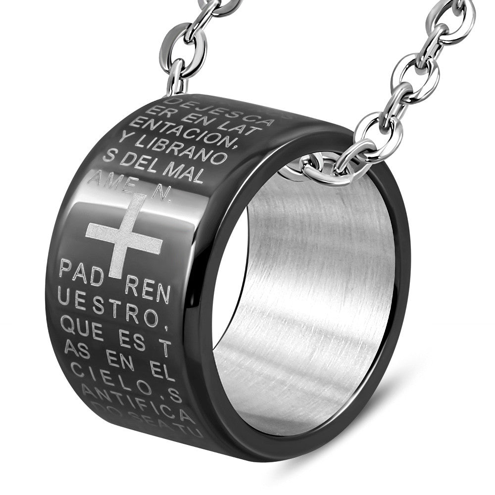 Stainless Steel Silver-Tone Black Padre Nuestro Prayer Spanish Ring Pendant Necklace