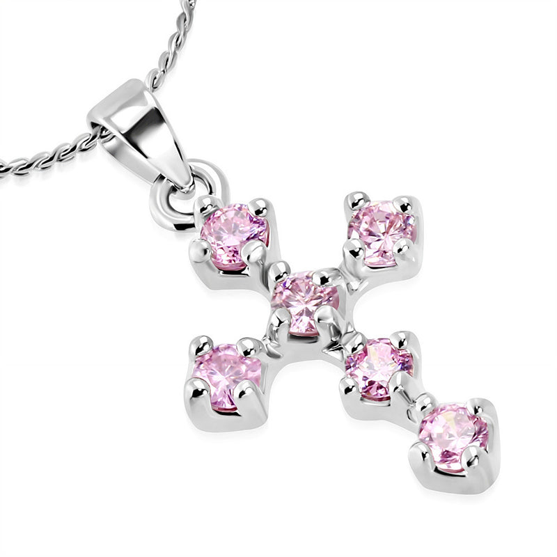 Stainless Steel Silver-Tone Pink CZ Religious Cross Pendant Necklace