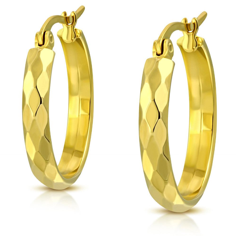 Stainless Steel Yellow Gold-Tone Classic Hoop Earrings