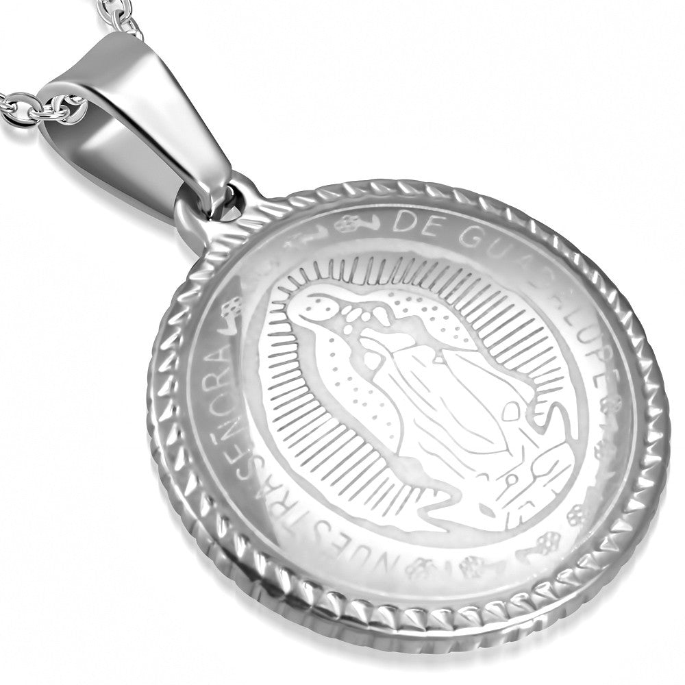 Stainless Steel Silver-Tone Nuestra Senora de Guadalupe Medallion Pendant Necklace