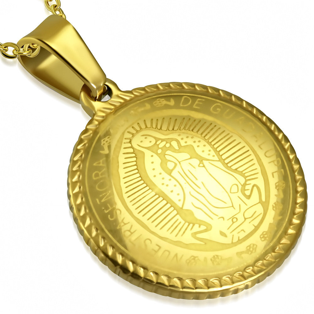 Stainless Steel Yellow Gold-Tone Nuestra Senora de Guadalupe Medallion Pendant Necklace