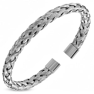 Stainless Steel Silver-Tone Braided Open End Cuff Bracelet