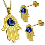 Stainless Steel Yellow Gold-Tone EXTRA LARGE Hamsa Hand Stud Earrings Pendant Jewelry Set