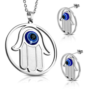 Stainless Steel Silver-Tone EXTRA LARGE Hamsa Hand Stud Earrings Pendant Jewelry Set