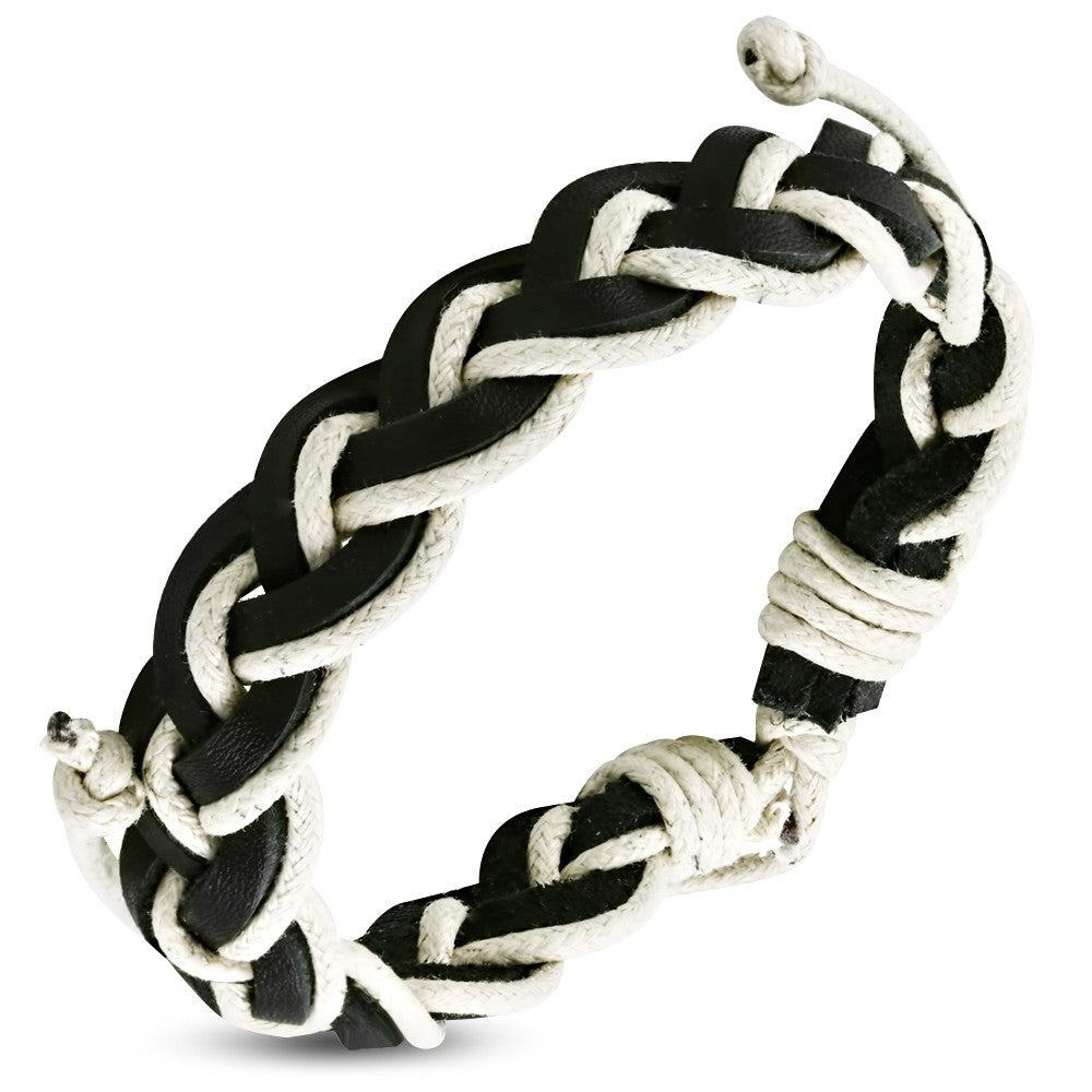 Black White Leather Braided Adjustable Mens Wristband Bracelet